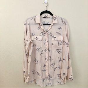 Zara   Blush Light Pink Bird Button Down Blouse M